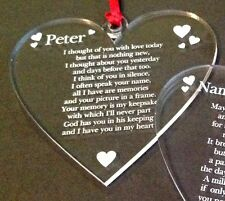 Personalised memorial Engraved Heart Shape acry christmas tree decoration Plaque