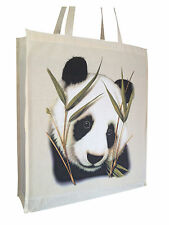 Panda Solo Cotton Shopping Bag Tote Gusset & Long Handles Perfect Gift