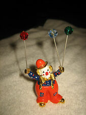 VINTAGE SPOONTIQUES PEWTER BIG PANTS CLOWN WITH SWAROVSKI CRYSTAL BALL W/ BOX