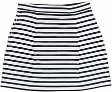 [68 14] Tommy Hilfiger Womens White Blue Striped Knit Pleated A-Line Skirt Small
