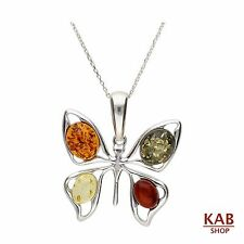 "BALTIC AMBER STERLING SILVER 925 BEAUTY PENDANT BUTTERFLY+18""chain KAB-93.M2"