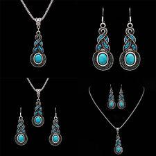 Ensemble bijoux Ensemble cristal Turquoise Pendentif Collier Boucles d'oreilles