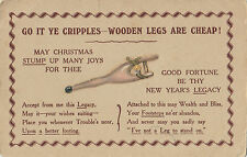"Postcard ""go it ye cripples wooden legs are cheap"" Christmas advertising"