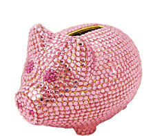 Pink Crystal Gold Metal Coin Piggy Bank w/ Swarovski Crystals - Baby Girl Gift