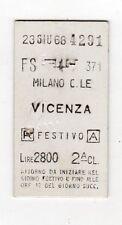 BIGLIETTO FERROVIARIO  EDMONSON  TICKET    MILANO  CENTRALE  VICENZA  23-6-1968