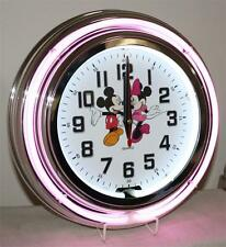 Mickey and Minnie Mouse Pink Neon Clock Quartz New Lifestyle Lighting