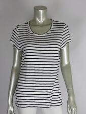 TAHARI XL Rayon Blend Comfy Summer Top Striped Black/White Blouse Flowing Shirt