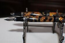 Bostonian Chilton Fountain & Ball Pen Marble Brown Set Med Nib