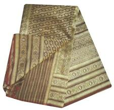 HEAVY BROWN VINTAGE SARI PURE TISSUE SILK SAREE SELF WOVEN FABRIC INDIAN CRAFT