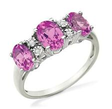 100% 14K White Gold 3 Stone Lab Created Pink Sapphire & Diamond Accent Ring