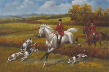 "Vintage Landscape White Horse Oil Painting Hunting Dogs Large Art Decor 24""x36"""