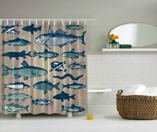 "FISH LINEUP SALTWATER  70"" Fabric Bathroom Shower Curtain"