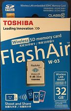 Toshiba 32GB Wi-Fi Wireless LAN FlashAir III SDHC SD Class 10 Camera Memory Card