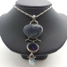 Fine Large Multi Gem Layers Sterling Silver 925 Necklace Pendant 27g N1602