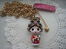 "BETSEY JOHNSON BEIJING OPERA DOLL NECKLACE WITH LARGE CHAIN  30""  # 68"