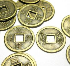40Pcs Copper Coated Chinese Ancient Money Coins Beads Finding--Jewelry Accessory