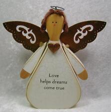 Angel Figurine Wood Love Rustic Primitive Metal Copper Color Wings