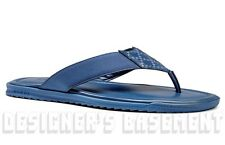 GUCCI mens 10.5G* blue DIAMANTE Leather FLIP-FLOPS Thong sandals shoes NIB Auth
