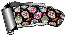LRG Ripped Open GASH Torn Metal Mexican Sugar Skull Day of the Dead Car Sticker