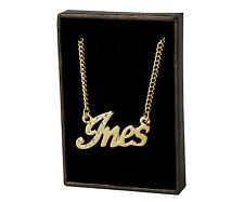 """Name Necklace """"INES"""" - 18ct Gold Plated - Czech Rhinestones - Name Plate Gifts"""