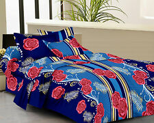 Homefabs 100% Cotton Double Bed Sheet with 2 Pillow Covers (DBS 056)