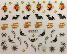Nail Art 3D Decal Stickers Halloween Bat Black Cat Pumpkin Ghost Spider E067