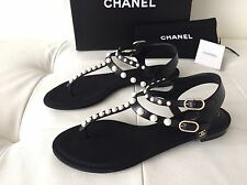 2016 CHANEL BLACK LEATHER FLAT SANDALS WITH PEARLS SIZE 37.5