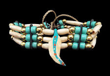 Three Row Bone Hairpipe Choker with Turquoise Beads and Feather - Sioux Handmade