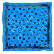 New SANTOSTEFANO Handmade Light Blue Brown Silk Pocket Square Handkerchief $150