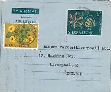 N 133 Sierra Leone uprated 1964 commercial aerogamme to UK; Lunsar cds