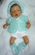 """Collectible OOAK Doll Sculpt Resin 9"""" LMS LIL Bittie Baby w/ Crochet Outfit"""