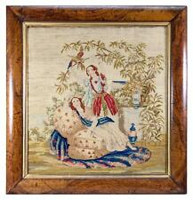Antique Victorian Needlepoint Tapestry, Girls & Parrot in Original Frame c.1840s