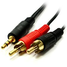 5M 3,5 mm Jack a 2 x RCA CABLE (doppia PHONO) Audio Lead Stereo Oro Lungo