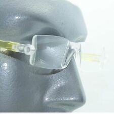 Reading Glasses No-See Frameless Lightweight Yellow Color Accent Sides +2.50