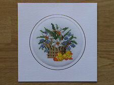 COMPLETED CROSS STITCH EASTER CARD - EASTER CHICKS