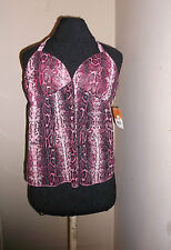 new Glo Jeans snake print dressy halter tank top lg pink chiffon summer tops