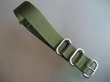 Zulu Strap Uhrenarmband Nylon grün olive Rundringe 20 mm Natoband Edelstahl matt