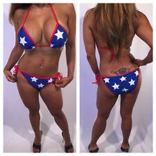 Sexy Red White & Blue American Flag Two Piece 4th of July Bikini Set in size L