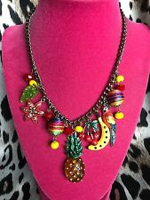 Betsey Johnson Vintage Rio Tropical Fruit Cherry Pineapple Parrot Necklace RARE