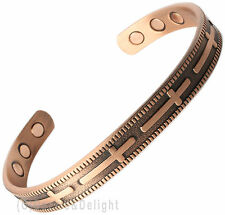 MAGNETIC BRACELET LADIES MENS BANGLE COPPER CROSS ARTHRITIS MAGNET BIO THERAPY