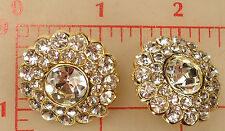 2 Czech thin gold metal buttons covered in large & smaller rhinestones 30mm #275