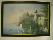 Original Oil Painting Castle by the Sea; Large 36x24 Jane Mabry 1911-2006 Signed