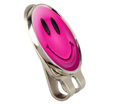 PINK SMILEY FUSION HAT VISOR CLIP + GOLF BALL MARKER BY ASBRI.