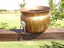 15480/ Antique BRASS Pot Planter ~ Lions Head with Handles ~ Estate Item