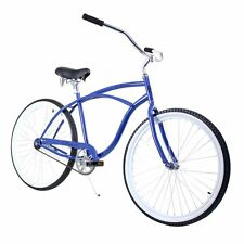 "Blue White 26"" ZF Bikes Classic Single Speed Mens Beach Cruiser Bike Bicycle"