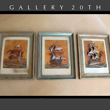 AMAZING! 3 WORKS OF GALLEON WALL ART! Vtg 1940's Ships Diorama Very Rare Decor