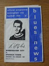 25/02/1967 Birmingham City V Ipswich Town (piegato, pesante PIEGATE/acqua danneggiata)