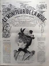 LE MONITEUR DE LA MODE 1891 N 20 CHAPEAU MANON. DESSIN DE J. ROCAULT