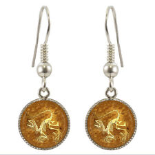 Dinosaur Fossil Design Silver Plated Dangle Earrings Set Ancient Trex Dino NEW
