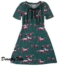 AUTHENTIC CATH KIDSTON WILD PONIES HORSES GREEN VINTAGE STYLE DRESS - 14 - BNWT!
